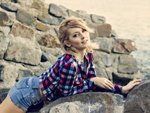 Portrait of a young beautiful sensual blonde girl Stock Photography