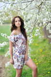 Portrait of young beautiful sexy woman outdoors Royalty Free Stock Images