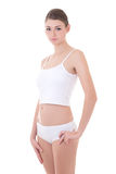Portrait of young beautiful slim woman in cotton underwear posin Stock Photography
