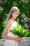 Portrait of young beautiful smiling woman outdoors Stock Images