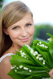 Portrait of young beautiful smiling woman outdoors Royalty Free Stock Image