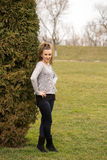 Portrait of the young beautiful smiling woman outdoors Royalty Free Stock Images