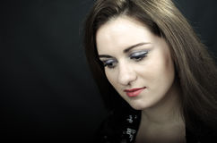 Portrait of young beautiful soprano singer Stock Images