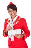 Portrait of young beautiful stewardess Royalty Free Stock Photo