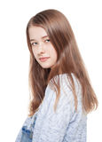 Portrait of young beautiful teenage girl isolated Stock Photos
