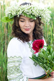 Portrait of a young beautiful in traditional Ukrainian shirt Royalty Free Stock Photography