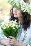 Portrait of a young beautiful in traditional Ukrainian  shirt Stock Images