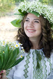 Portrait of a young beautiful in traditional Ukrainian  shirt Royalty Free Stock Photo