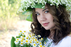 Portrait of a young beautiful in traditional Ukrainian  shirt Stock Image