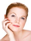 Portrait of a young beautiful woman. Over white background Royalty Free Stock Photo
