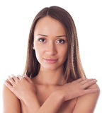Portrait of young beautiful woman. On a white Stock Image