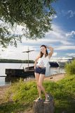 Portrait of a young beautiful woman . Portrait of a young beautiful woman on the bank of the river Stock Images