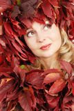 Portrait of the young beautiful woman with autumn Stock Photos