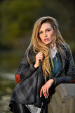 Portrait of young beautiful woman in autumn coat. Fashion photo royalty free stock image