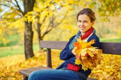 Portrait of young beautiful woman in autumn park. Young beautiful woman in autumn park Stock Photography