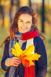 Portrait of young beautiful woman in autumn park Royalty Free Stock Image