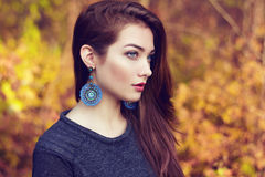 Portrait of young beautiful woman in autumn park. Beauty. Fashion photo Royalty Free Stock Photos