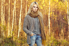 Portrait of young beautiful woman in autumn pullover Stock Photo