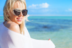 Portrait of young beautiful woman on the beach Royalty Free Stock Image