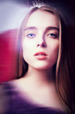 Portrait of young beautiful woman with blur Stock Images