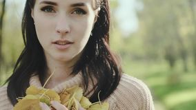 Portrait of a young and beautiful woman. Brunette. Girl in a sweater and autumn leaves in her hands. Slow motion. stock video footage
