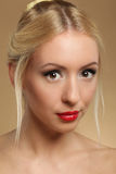 Portrait of young beautiful woman caucasian with red lips isolat Stock Photos