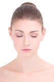Portrait of young beautiful woman with closed eyes isolated on w Royalty Free Stock Images