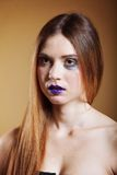 Portrait of young beautiful woman creative make up Stock Images