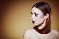 Portrait of young beautiful woman creative make up Stock Photos