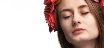 Portrait of young beautiful woman crying Stock Image