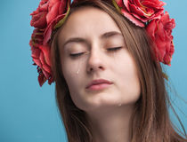 Portrait of young beautiful woman crying Royalty Free Stock Photo