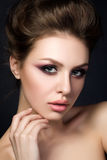 Portrait of young beautiful woman with evening make up Royalty Free Stock Photo
