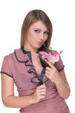Portrait of young beautiful woman with flower Royalty Free Stock Images