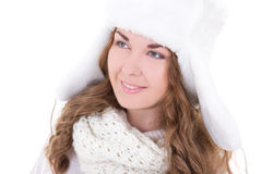 Portrait of young beautiful woman in fur hat isolated on white Royalty Free Stock Photography
