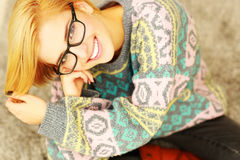 Portrait of a young beautiful woman in glasses Royalty Free Stock Photo