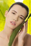 Portrait of young beautiful woman with green leafs Stock Image