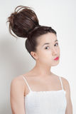 Portrait of young beautiful woman with hairstyle Stock Photography