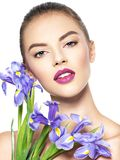 Portrait of young beautiful woman with a healthy clean skin of t royalty free stock photo