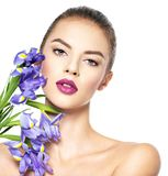 Portrait of young beautiful woman with a healthy clean skin of t stock image