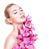 Portrait of young beautiful woman with a healthy clean skin of t Royalty Free Stock Images