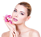 Portrait of young beautiful woman with a healthy clean skin of t Royalty Free Stock Photography