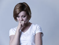 Portrait young beautiful woman on her 30s sad and depressed in breakdown suffering depression Stock Photos