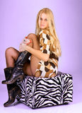Portrait of young beautiful woman hold a leg stock photography