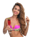 Portrait of young beautiful woman holding drinking red strawberr Royalty Free Stock Photos