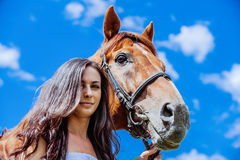 Portrait of young beautiful woman with horse Stock Images