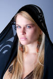 Portrait of young beautiful woman with kerchief Royalty Free Stock Photos
