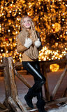 Portrait of young beautiful woman with long fair hair outdoor in a cold winter day. Beautiful blonde girl in winter clothes. With xmas lights in background Stock Photo
