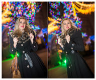 Portrait of young beautiful woman with long fair hair outdoor in cold winter evening. Beautiful blonde girl in winter clothes Stock Photos