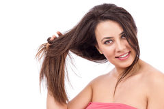 Portrait of young beautiful woman with long hair Royalty Free Stock Images
