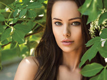 Portrait of the young beautiful woman with long hairs. outdoors. Stock Photography